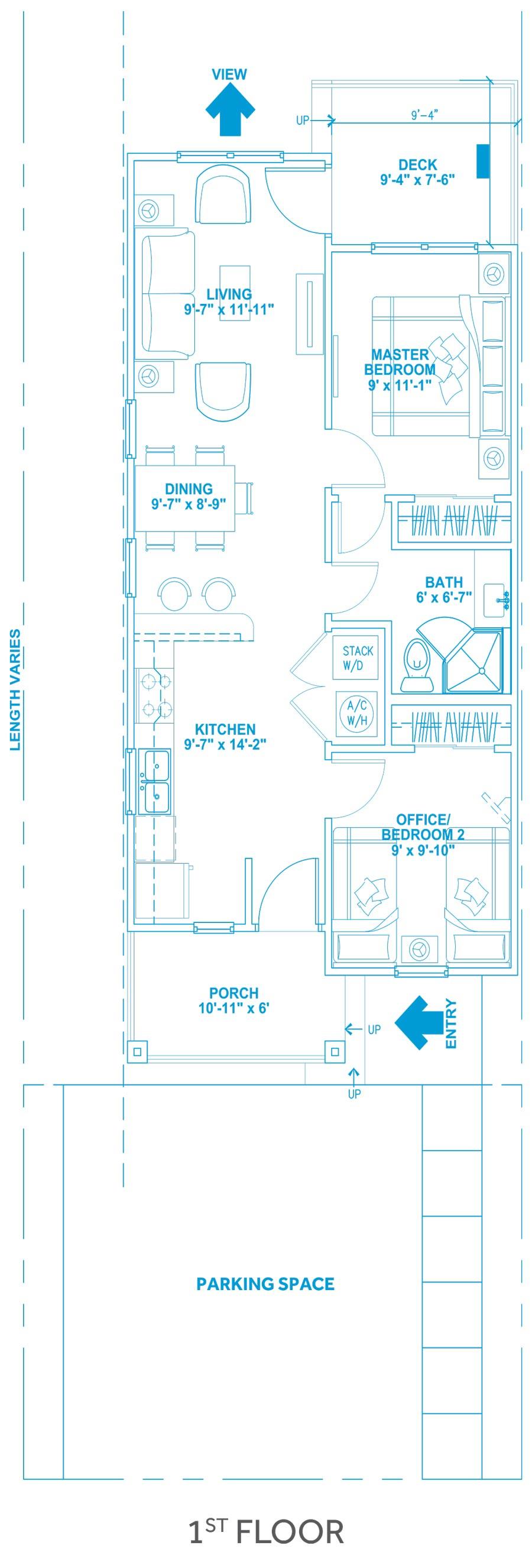 Las Joyas South Padre Beach Houses - Beach House A1 First Floor Plan