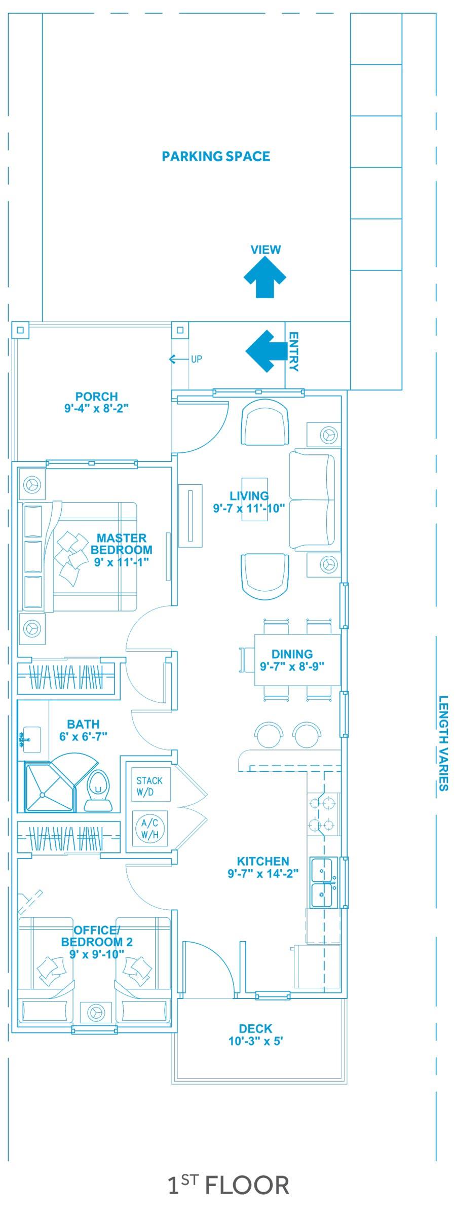 Las Joyas South Padre Beach Houses - Beach House A2 First Floor Plan