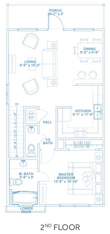 Las Joyas South Padre Beach Houses - Beach House B1 Second Floor Plan