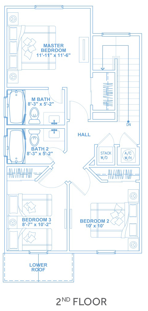 Las Joyas South Padre Beach Houses - Beach House D2 Second Floor Plan