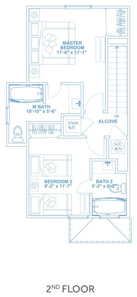 Las Joyas South Padre Beach Houses - Beach House E2 Second Floor Plan